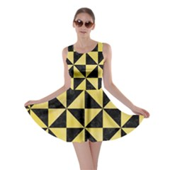 Triangle1 Black Marble & Yellow Watercolor Skater Dress