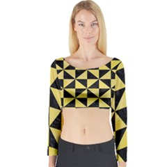 Triangle1 Black Marble & Yellow Watercolor Long Sleeve Crop Top