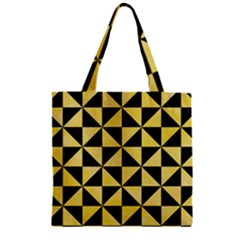 Triangle1 Black Marble & Yellow Watercolor Zipper Grocery Tote Bag