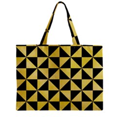 Triangle1 Black Marble & Yellow Watercolor Zipper Mini Tote Bag