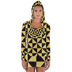Triangle1 Black Marble & Yellow Watercolor Long Sleeve Hooded T Shirt