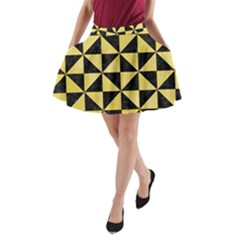 Triangle1 Black Marble & Yellow Watercolor A Line Pocket Skirt