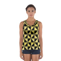 Triangle1 Black Marble & Yellow Watercolor Sport Tank Top