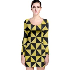 Triangle1 Black Marble & Yellow Watercolor Long Sleeve Velvet Bodycon Dress