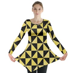 Triangle1 Black Marble & Yellow Watercolor Long Sleeve Tunic