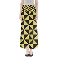 Triangle1 Black Marble & Yellow Watercolor Full Length Maxi Skirt