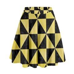 Triangle1 Black Marble & Yellow Watercolor High Waist Skirt