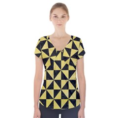 Triangle1 Black Marble & Yellow Watercolor Short Sleeve Front Detail Top