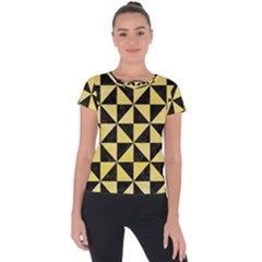 Triangle1 Black Marble & Yellow Watercolor Short Sleeve Sports Top