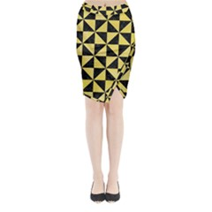 Triangle1 Black Marble & Yellow Watercolor Midi Wrap Pencil Skirt