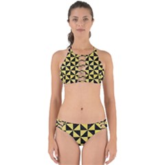 Triangle1 Black Marble & Yellow Watercolor Perfectly Cut Out Bikini Set