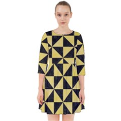 Triangle1 Black Marble & Yellow Watercolor Smock Dress