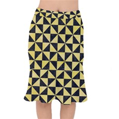 Triangle1 Black Marble & Yellow Watercolor Mermaid Skirt