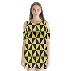 Triangle1 Black Marble & Yellow Watercolor Shoulder Cutout Velvet One Piece