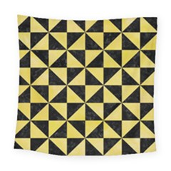 Triangle1 Black Marble & Yellow Watercolor Square Tapestry (large)