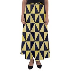 Triangle1 Black Marble & Yellow Watercolor Flared Maxi Skirt
