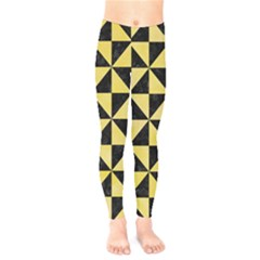 Triangle1 Black Marble & Yellow Watercolor Kids  Legging