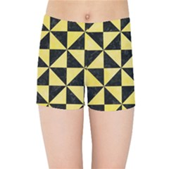 Triangle1 Black Marble & Yellow Watercolor Kids Sports Shorts