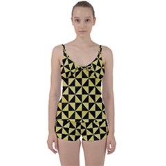 Triangle1 Black Marble & Yellow Watercolor Tie Front Two Piece Tankini