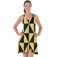 Triangle1 Black Marble & Yellow Watercolor Show Some Back Chiffon Dress