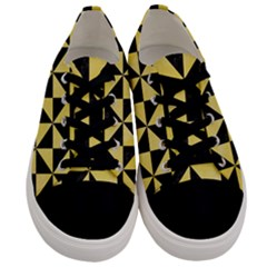 Triangle1 Black Marble & Yellow Watercolor Men s Low Top Canvas Sneakers
