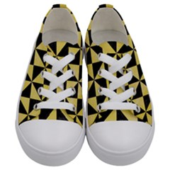 Triangle1 Black Marble & Yellow Watercolor Kids  Low Top Canvas Sneakers