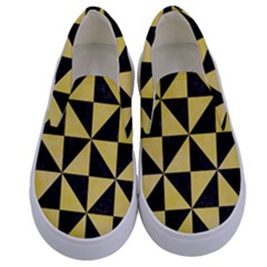 Triangle1 Black Marble & Yellow Watercolor Kids  Canvas Slip Ons