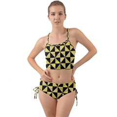 Triangle1 Black Marble & Yellow Watercolor Mini Tank Bikini Set