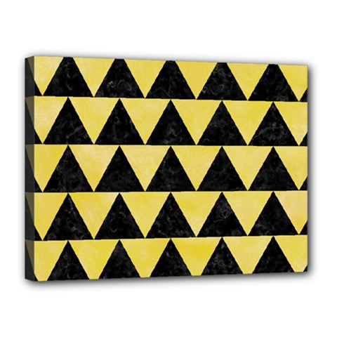 Triangle2 Black Marble & Yellow Watercolor Canvas 16  X 12