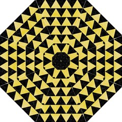 Triangle2 Black Marble & Yellow Watercolor Golf Umbrellas