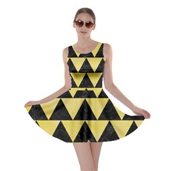 Triangle2 Black Marble & Yellow Watercolor Skater Dress