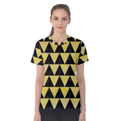 Triangle2 Black Marble & Yellow Watercolor Women s Cotton Tee