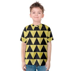 Triangle2 Black Marble & Yellow Watercolor Kids  Cotton Tee