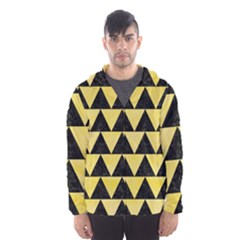 Triangle2 Black Marble & Yellow Watercolor Hooded Wind Breaker (men)