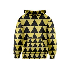 Triangle2 Black Marble & Yellow Watercolor Kids  Pullover Hoodie