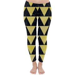 Triangle2 Black Marble & Yellow Watercolor Classic Winter Leggings