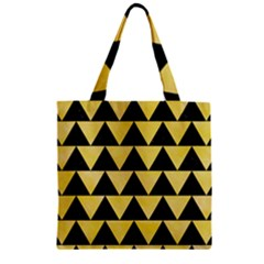Triangle2 Black Marble & Yellow Watercolor Zipper Grocery Tote Bag
