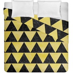 Triangle2 Black Marble & Yellow Watercolor Duvet Cover Double Side (king Size)