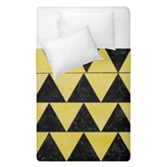 Triangle2 Black Marble & Yellow Watercolor Duvet Cover Double Side (single Size)