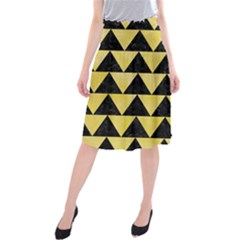 Triangle2 Black Marble & Yellow Watercolor Midi Beach Skirt