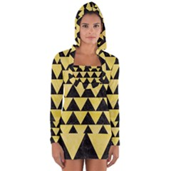 Triangle2 Black Marble & Yellow Watercolor Long Sleeve Hooded T Shirt