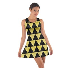 Triangle2 Black Marble & Yellow Watercolor Cotton Racerback Dress