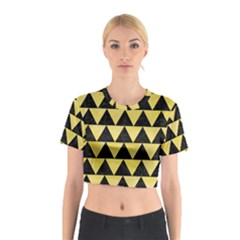 Triangle2 Black Marble & Yellow Watercolor Cotton Crop Top