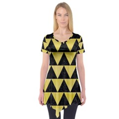 Triangle2 Black Marble & Yellow Watercolor Short Sleeve Tunic