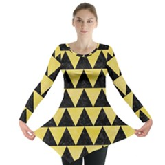 Triangle2 Black Marble & Yellow Watercolor Long Sleeve Tunic