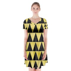 Triangle2 Black Marble & Yellow Watercolor Short Sleeve V Neck Flare Dress