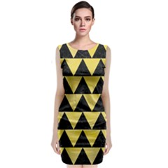 Triangle2 Black Marble & Yellow Watercolor Classic Sleeveless Midi Dress