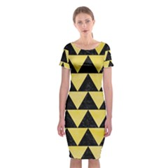 Triangle2 Black Marble & Yellow Watercolor Classic Short Sleeve Midi Dress