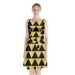 Triangle2 Black Marble & Yellow Watercolor Sleeveless Waist Tie Chiffon Dress