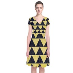 Triangle2 Black Marble & Yellow Watercolor Short Sleeve Front Wrap Dress